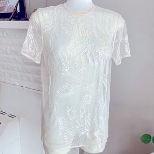 Gorg! Vintage Embroidered Beaded Sheer Overlay Top